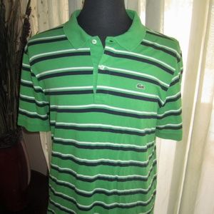 Lacoste Green w/Blue and White Stripes Polo Shirt
